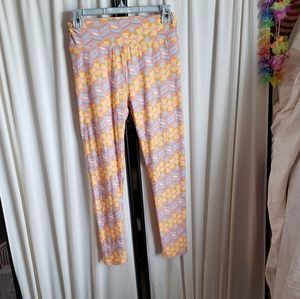 Lularoe one size flower orange/pink/blue leggings